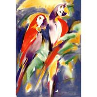 peintures d'art abstrait violet achat en gros de-Alfred Gockel peintures perroquets rouges sur pourpre abstrait moderne toile art de haute qualité peint à la main
