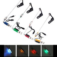 Wholesale Led Bite Indicator - Wholesale- Fishing Alarm Iron Fishing Bite Hanger Swinger LED Illuminated Indicator Fishing Tackle Tools High Quality