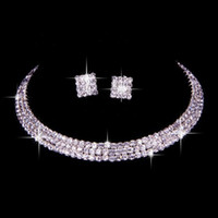 100% Same as Image Classic Rhinestone Jewelry Set Wedding Bridal Necklace and Earrings Photo Bride Evening Prom Party Homecoming Accessories