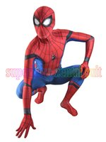 Wholesale Spider Man Suits For Kids - New Spiderman Homecoming Costume Halloween Cosplay Spider-Man Superhero Fullbody Zentai Suit For Adult Kids Custom Made free shipping