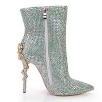 gelin ayakkabıları yüksek topuklu elmas taklidi toptan satış-Rhinestone bling bling kristal ayak bileği boot düğün gelin yüksek topuk noktası toe kürk astarı patik ayakkabı