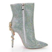 palmilhas venda por atacado-Strass bling bling cristal tornozelo bota de casamento nupcial do salto alto ponto toe pele palmilha botas sapatos