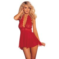 Wholesale Sexy Babydolls Plus Size - New Plus Size Women Costumes Ladies Hot Sexy Lingerie Lace Floral Transparent Sexy Underwear Babydolls Dress G-string Sleepwear