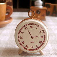 Wholesale Small Wood Clock - Wholesale- Best Price 1pc vintage retro style Wood Rubber alarm clock small wooden stamp   DIY seal