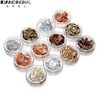 Wholesale Nail Foils Chips - Wholesale-Professional 12pcs Boxes Gold Silver Copper Nail Art Foil Paillette Chip Design Tips Decorations Set Tools Free Shipping