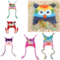 Wholesale Wholesale Owl Accessories Kids - Handmade Crochet Baby Hat Christmas OWL Beanies Girl Boy Cap Knit Hats For Kid Girl Hair Accessories