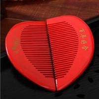Wholesale Human Heart Shape - Wedding wedding supplies festive big red heart shaped wooden comb wholesale of human heart bride