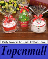 Wholesale towel favors weddings - Fast shipping New Fashion Christmas tree modeling cake towel 100% cotton towel Party Favors Wedding birthday gift Christmas gift TPML-2689