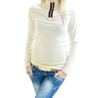 Wholesale Long Sleeve Cotton Zippered - Wholesale- Casual Style Autumn Women Tops Stylish Turtleneck Long Sleeve Cotton Shirt Zippered Patchwork Pullovers Women T-Shirt 1630893