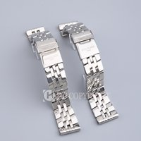 pulsera de acero inoxidable de 24mm. al por mayor-Venta al por mayor de alta calidad de color plata 22 mm 24 mm correa de acero inoxidable grueso correa banda hebilla apta para reloj Chronomat