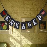 accesorios de la cabina de la boda al por mayor-Al por mayor- Cotill Vintage Wedding Decor Engaged Board + Ribbon Sign Photo Booth Props Casamento Wedding Decoration Party Favor