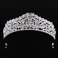ingrosso corone di spettacolo di qualità-Moda di alta qualità squisita corona nuziale di cristallo 2019 donne spettacolo Prom Diademi capelli gioielli accessori copricapo