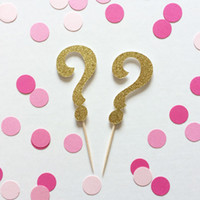 All'ingrosso Glitter Genere Rivela Toppers Cupcake - Question Mark baby shower battesimo matrimonio Balletto di compleanno, Dance Decor Partito