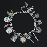 Wholesale European Beads Watches - Game Of Thrones Charm Bracelet The House Banners 7 Kingdom Nights Watch Dragons Stark Bracelets For Fans Gift