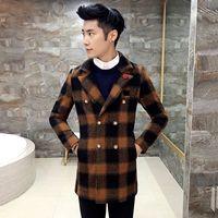Wholesale Winter Jacket Brands Korea - Wholesale- New Fashion Hot Brand 2017 winter men's high quality big plaid woolen outwear male slim korea style warmness fit woolen jackets