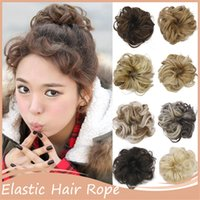 Grossiste-1PC élastique cheveux Rope Scrunchee Cheveux Scrunchie Hairpiece Tray Ponytail Holder Hairpieces synthétique Hair Bun Maker H2