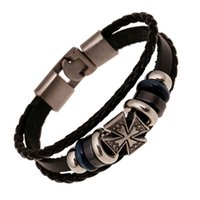 Wholesale Warp Chains - 2017 Vintage Cross Beads Handmade Woven Leather Bracelet Bangle For Women Men Jewelry Hip-hop Multilayer Warp Bangle