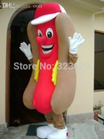 Wholesale Hot Dog Hotdog Mascot Costume - Wholesale-hot dog hotdog mascot costume adult size fancy dress cartoon character party outfit suit free shipping