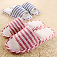 Wholesale Wholesale Flax Linen Fabric - Wholesale-Women Indoor Slippers For Men Household Home Shoe Pantuflas Flax Couple Linen Cotton Striped Antiskid Soft Breathable Chinelos