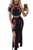 Wholesale Top Night Gowns - Black rose Flower evening mermaid gowns Embroider Cold Shoulder Top and Slit Two Piece Dresses Vintage Formal Gown vestido de festa