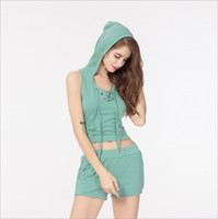 Wholesale Short Midriff Dresses - New Sexy Hooded Bandage V-neck Sleeveless Short Tanks And Shorts Women's Tracksuits Midriff-baring Belt Criss-Cross Two Piece Sets