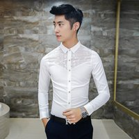 Wholesale Lace Shirts For Men - Wholesale- 2016 Mens See Through Shirts White Mens Lace Shirts Black Transparent Shirts For Men Club Outfits Social Slim Fit Camisas Hombre