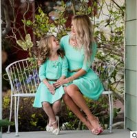 Wholesale Mother Dresses Clothes Plus - Plus Size Mother and Daughter Matching Dress Summer Three-quarter Length Sleeves Dresses Mother and Daughter Clothes Family Clothing Green