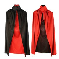 """Wholesale Kids Vampire Capes - Wholesale-Length 90cm   35"""" Black And Red Quality Cape For Kids Vampire Or Magician Costume in Halloween"""
