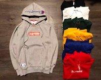 Wholesale Sweatshirt Pocket Pattern - New Men and Women Hooded fleece Jacket Autumn sup box logo embroidery classic Sweatshirts Tops Unisex Casual Coat