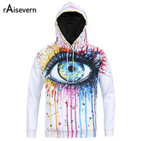 Wholesale Paintings Big Eyes - Wholesale- Raisevern New Men Women Unisex Hoodies Oil Painted Big Eye Funny Print Hooded Sweatshirt Hip Hop Hoody Tops Plus Size M-3XL