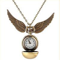 relógio quartzo asa venda por atacado-Unisex liga de cadeia de relógio de bolso de bronze do vintage brilhante bola colar mini pingente de asa de quartzo relógios para mens mulheres meninas meninos presente