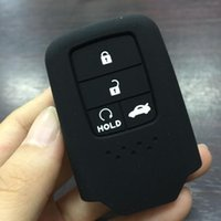 Wholesale Honda Pilot Keyless Entry - Silicone Rubber car key fob cover case shell or Honda 2016 2017 CRV Pilot Accord Civic Fit Freed keyless entry keychain