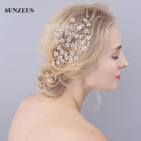 Wholesale Gold Flower Hair Comb - Luxury Flowers Vintage Hair Comb High Class Hand Made Bridal Head Accessories Wholesale Gold Combs For Wedding