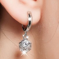 Wholesale 925 Silver Ball Earings - Elegant 925 Sterling-silver-jewelry Crystal Ball AAA CZ Diamond Stud Earrings For Women Earings Sterling Silver Jewelry A413