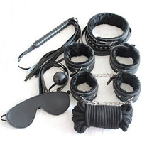 Wholesale Adult Sex Items - Hot item! Restraint Bondage Sex Toys Plush Cuffs Strap Whip Rope Adult Sex Game Toy 7 in 1 Set