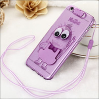 Wholesale Cute Purple Lanyard - 100 pcs Shockproof Cute Cell Phone Cases+Cell Phone Lanyard+Cell Phone Bracket For iPhone 6 6S plus Samsung A8 S6 Soft TPU Silicone Cover