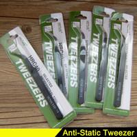 Wholesale Esd Kit - Black Anti-static Tweezers HRC40 Antistatic Curved Straight Nail Art Tweezers Stainless Steel Anti-magnetic Makeup Tools Kit ESD 15