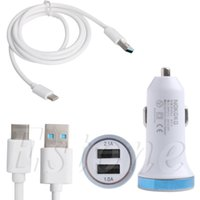 Wholesale Nexus Car Chargers - Wholesale-Type C 3.1 to USB 3.0 Charging Cable+LED Light Car Charger for LG G5 Nexus 5X 6P