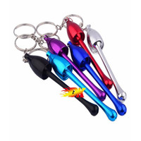 Wholesale keychain smoke pipe resale online - Party Aluminum Keychain Mushroom Tobacco Pipe Random color Metal Mini Smoking Pipe Pipes Smoking Accessories Keychains Key Chain
