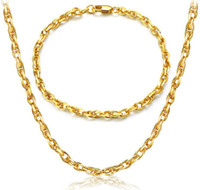Wholesale Egg Plant - 2017 hot sales Mark 18K gold plating Egg shaped Necklace Fashion man woman 4MM Gold bracelet necklace wedding Jewelry Set