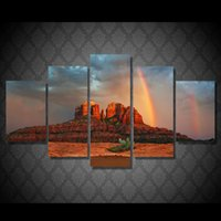 Wholesale Rainbow Sheet Set - 5 Pcs Set Framed HD Printed Rainbow In Arizona Picture Wall Art Canvas Room Decor Poster Canvas Abstract Oil Painting