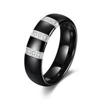 Wholesale High Quality Simulated Wedding Set - FASHION Jewelry Factory Price Accessories High Quality Inlaid simulated Diamond Black white Ceramic Ring for Women   Men