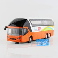 Wholesale Diecast Buses - New Diecast Metal New York Double-decker toy bus With light and sound Pull back Educational For children's gift or collection