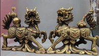 China Cobre Bronze Feng Shui Ruyi Gourd Kirin Unicórnio Kylin Foo Dog Lion Statue