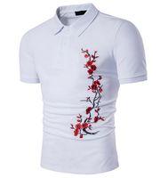Wholesale Men Pattern Flower Shirt - Wintersweet Polo Shirt Men Part Embroidery Plum Flower Pattern Pullober Turn Down Collar Single Breasted Short Sleeve Men Tshirt Free Ship