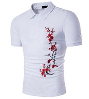 Wintersweet Polo Shirt Men Part Вышивка Plum Flower Pattern Pullober Turn Down Collar Single Breasted Short Sleeve Men Tshirt Free Ship