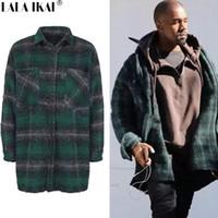 flanela de lã venda por atacado-Atacado-xadrez xadrez mistura de lã homens grosso casaco de inverno longo homem Kanye West Streetwear sobretudos casacos de Hip Hop Oversize SMH0050-4