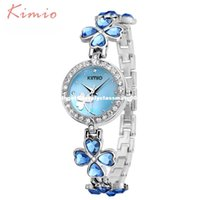 Wholesale Austrian Dress - KIMIO Ladies Lucky Clover Love Crystal Strap Austrian Drilling Women Watches 2016 Luxury Brand Quartz Watches Woman Dress Clock
