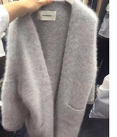 Wholesale Knit Mink Coats - Wholesale-Korean Women Long Knitted Cardigan Casual Loose Mink Cashmere Cardigans Coat Pure Color Knitwear Comfortable Soft Fuzzy Sweaters