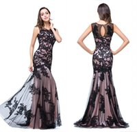 Wholesale Women Designer Dresses Pictures - Real Image Sexy New Sheer Tulle Sleeveless Mermaid Evening Dresses Black Lace Applique Formal Party Women Floor Length Prom Gowns CPS015